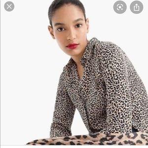 J.crew silk button up shirt in leopard print